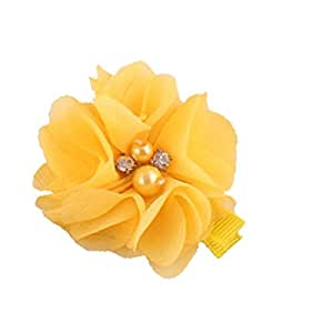 BELLAZAARA Baby Girls Mini Tulle Mesh Yellow Chiffon Flowers Hairclips with Rhinestone Pearl Center