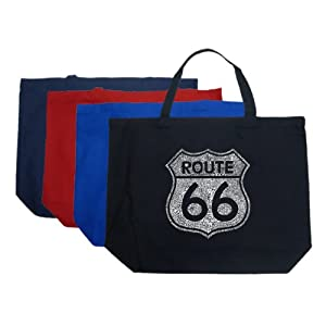 Large Black Route 66 Tote Bag - Made using the popular cities along the legendary highway