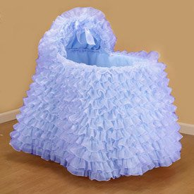 Little Ballerina Blue Bassinet Liner/Skirt and Hood - Size: 17x31