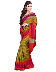 Shri Vaishnavi Designer Raw Silk Printed Saree (12028)