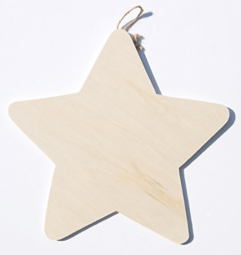 Wood Plaque with Hanger - Star - 1 piece - 1