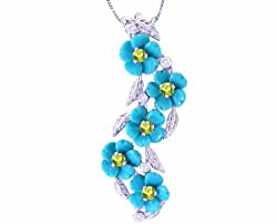 14K White Gold Cascading Turquoiseuoise Blossom Gemstone and Diamond Pendant-Multi Turquoise-Peridot , Chain- NOT included