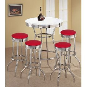 MAN CAVE 4 Red Vinyl Barstools and White Table Set