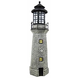Click to read our review of Decorative Garden Solar Powered Large Lighthouse Fiberglass Solar Light (Gray)