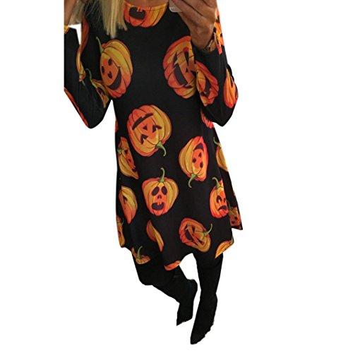 [XILALU Women Halloween Pumpkin Print Long Sleeve Party Swing Mini Dress (M, Pumpkin)] (Spider Costume Pattern Free)