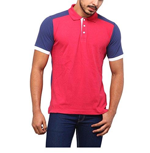 Yepme Men's Red & Blue Cotton Pique Polo Tees - YPMPOLO0261_L