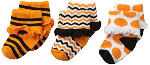 Jefferies Socks Baby-Girls Newborn Halloween Ruffle Cuff Socks 3 Pair Pack, Orange/Black, Newborn