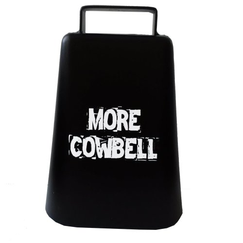 "MORE COWBELL 5"" high Cow Bell for Cheering at Sporting Events: Hockey, Football, Soccer, Baseball, Cyclocross, Cycling"