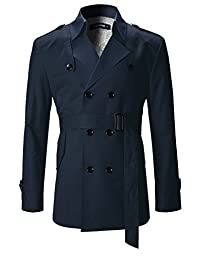FLATSEVEN Mens Slim Fit Designer Casual Trench Coat Navy, L