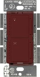 Lutron MA-LFQM-MR Maestro 300-Watt Multi-Location Digital Dimmer 1-Amp Quiet Fan Control with Canopy Module, Merlot