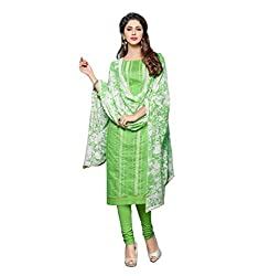 Stylowoman Un-stitched Cotton Cambric Dress Material Free Size Green
