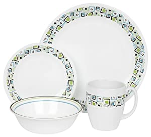 Corelle Livingware 16-Piece Dinnerware Set, Service for 4, Chocolate Mint from Corelle