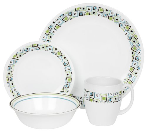 Corelle Livingware 16-Piece Dinnerware Set, Service for 4, Chocolate Mint