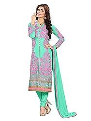SR Women's Cotton Unstitched Dress Material rani top light sky bottom duptta santoon meteriyal