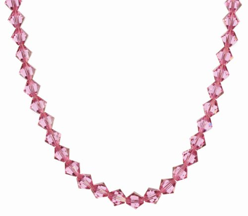 Sterling Silver Swarovski Elements Rose Colored 8mm Beaded Necklace, 36