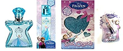 Disney Frozen Anna Eau De Toilette Perfume, Elsa Body Mist Spritzer, Bath Crystals And Body Shimmer Gift Set
