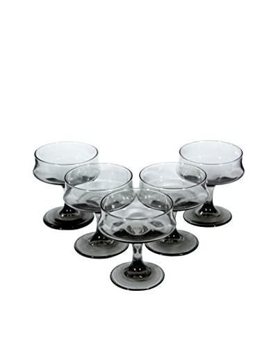 2 B Modern 1960s Set of 5 Coupe Glasses, Smoked Gray