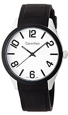 Calvin Klein Men's Aluminum Case Black Silicone Band Watch, K5E51CB2