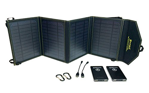 SunJack 20W Portable Solar Charger with 2x8000mAh Fast-Charge Batteries