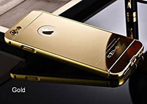 MVE(TM)Luxury Metal Bumper + Acrylic Mirror Back Cover Case For APPLE IPHONE 5C GOLD PLATED