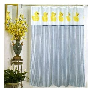 Amazon.com: Yellow Duck Ducky Themed Fabric Shower Curtain Blue ...