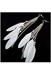 CHOP MALL® Sweet Style Feather Rhinestone Drop Earrings(White Feather with Golden chain)