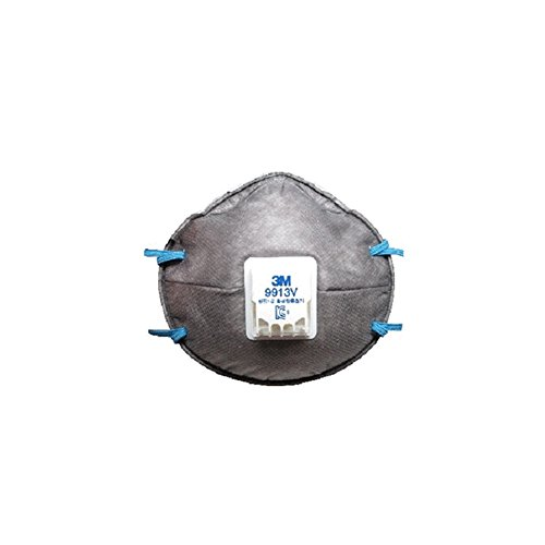 3M-9913V-Dust-Mask-Cold-Breathing-Valve-Cup-Shaped-Particulate-Respirator-Smell-Elimination-Charcoal-Pack-of-10