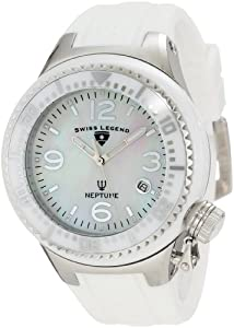 Swiss Legend Women's SL-11844-WWSA Neptune White Mother-of-Pearl Dial Silicone Watch with Ceramic Case