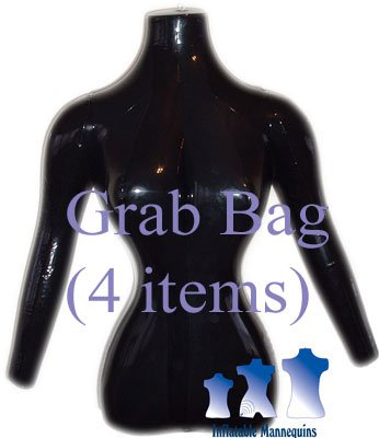 Grab Bag of 4 Inflatable Mannequins, Female Torso with Arms, Shiny Black