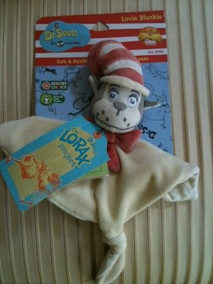 Dr. Seuss My Natural The Cat In The Hat Lovie Blankie Rattle Baby Toy front-659831