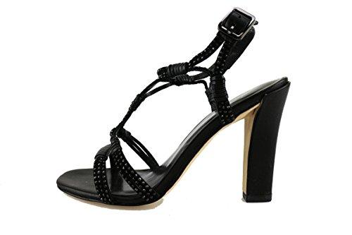 LOLA CRUZ sandali donna nero pelle camoscio strass AG308 (36 EU)