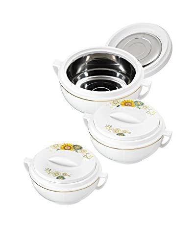 King Set 3 Recipientes Térmico Con Tapa Victoriana Soleado 1200 1600 Y 2500 ml Blanco