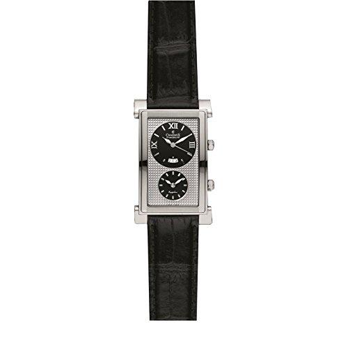 Charmex Cosmopolitan 1896 29x45mm Stainless Steel Case Black Calfskin Synthetic Sapphire Men's Watch