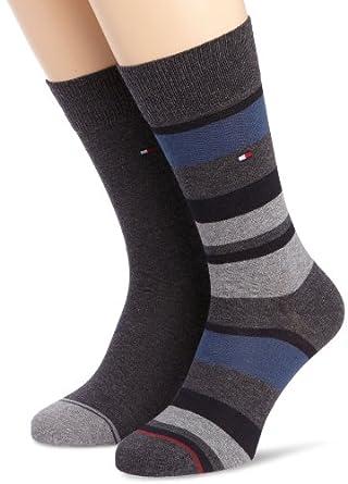 Tommy hilfiger - lot de 2 - chaussette haute - imprimé - coton - homme - gris (anthracite mélange) - 43/46