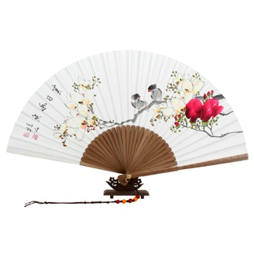 Hand Painted Folding Magnolia Flower Bird Painting Korean Mulberry Rice