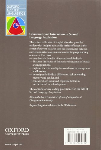 Oxford Applied Linguistics: Conversational Interaction in Second Language Acquisition: A Series of Empirical Studies