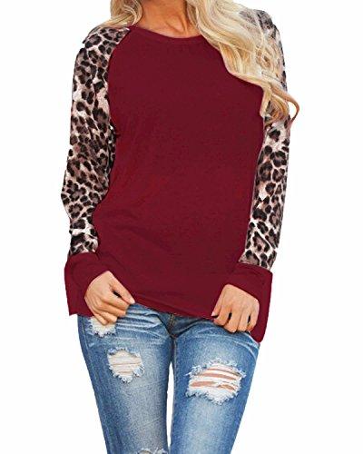 ZANZEA Women's Sexy Leopard Long Sleeve Chiffon Loose Blouse Casual Top Pullover Wine Red US 10-12/ASIAN (Asian Women Sexy)