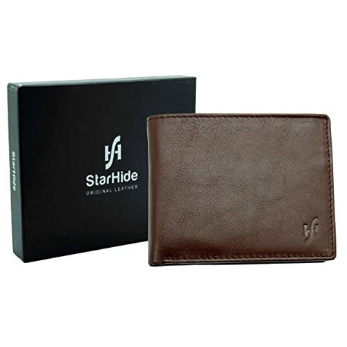 Starhide Mens Soft Brown Tan Leather Wallet With Photo ID And Coin Pocket Gift Boxed - 1216