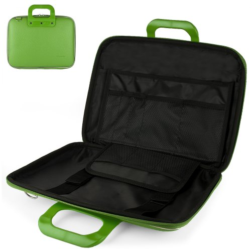 Uniquely designed SumacLife Brand Lime Green Ultra Durable Reinforced 13 Inch Cady Hard Shell Sports Bag for all models of the HP Envy 4-1130us 14 inch ultrabook (HP Envy series, windows 8, 4-1130us, 4-1110us, Black)