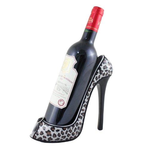 Silver Metallic Leopard Wine Bottle Holder