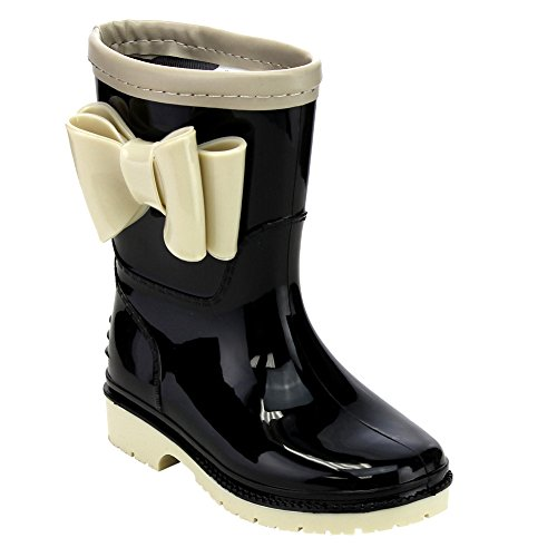 JELLY BEANS GD98 Girl's Knotbow Deco Lug Sole Low Heel Mid-Calf Rain Boots, Color:BLACK/NUDE, Size:11 M US Little Kid (Mid Heel Jellies compare prices)