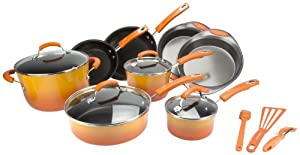 Rachael Ray 15-Piece Kitchen NonStick Hard Enamel Cookware Set Pots Pans -Orange