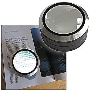 magnifier round 4 lighted magnifier reader with shatterproof acrylic. Black Bedroom Furniture Sets. Home Design Ideas