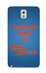 MiiCreations 3D Printed Back Cover for Samsung Galaxy Note 3,Legends Rides On Royal Enfield
