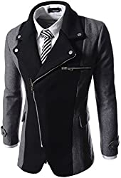 TheLees Mens casual rider style slim zipper Jacket