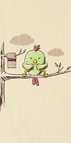 """""""Public Toilet"""" Funny Bird In Tree W/ Toilet Paper Roll - Plywood Wood Print Poster Wall Art front-993567"""