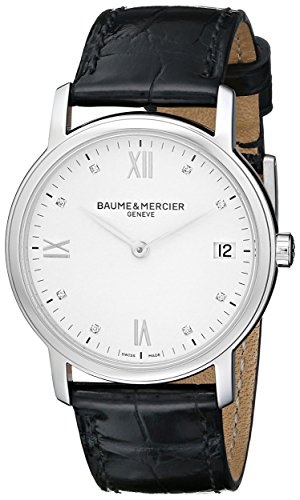 Baume and Mercier Classima White Dial Black Leather Strap Ladies Watch MOA10146