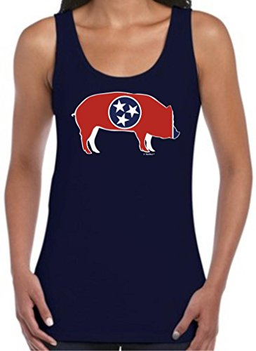 Tennessee Bbq Memphis Barbeque Capital Juniors Tank Top Large Navy