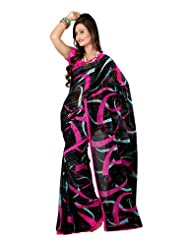Fabdeal Indian Wear Black Georgette Printed Saree-QSMSR9087AOC