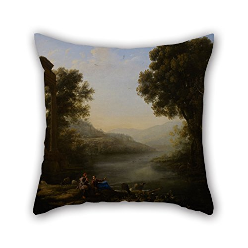Artistdecor Oil Painting Claude Gellée (called Le Lorrain) - Pastoral Landscape Pillow Shams 18 X 18 Inches / 45 By